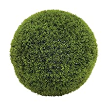 """Deco 79 50852 Large, Round Bright Green Grass Ball Decorative Foliage, Indoor Topiary Ball, Artificial Decorative Holiday Plants, Spring & Summer Faux Plant Decor 
