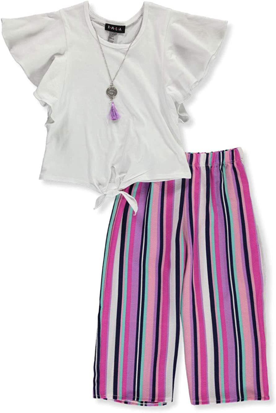 RMLA Girls Flutter Palazzo 2-Piece Pants Set Outfit with Necklace