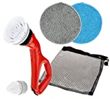 HY-C CPSRED Compact Electric Power Spin Scrubber with 4 Brushes for Cleaning Bathrooms, Kitchens, Counter Tops, Tile & Outdoors