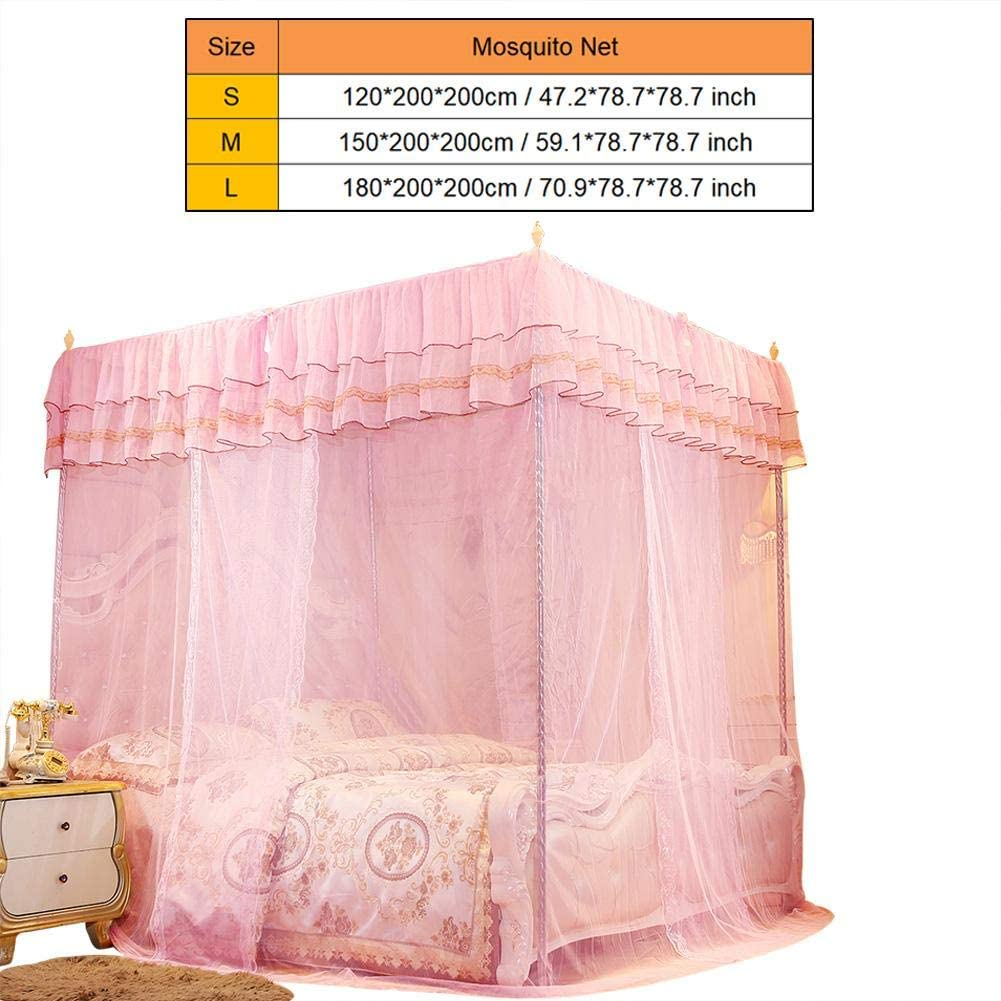 S Wifehelper Mosquito Net Princess Three Side Openings Post Bed Curtain Canopy Netting Bedding Accessories Ladies Bedroom Decoration