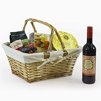 XFACTOR DEAL LIMITED Hamper Baskets Empty Wicker Picnic Willow Wooden Shopping Storage Cream Lining Luxury Family