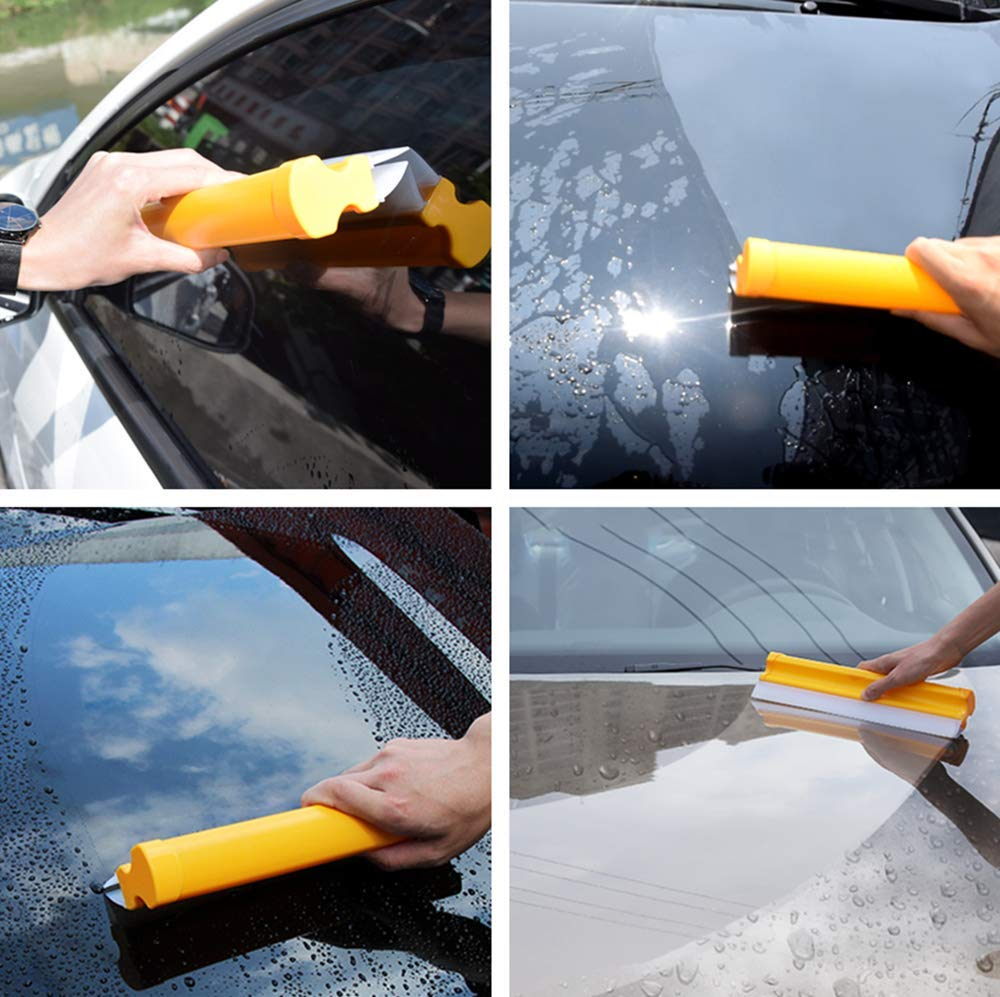 Mirror Shower Door Bathroom Double Row Silicone Wiper,Car wash Cleaning Wiper Glass Scraper,for Window Glass Hewnda Car Squeegee Water Blade 11-3//4 inch