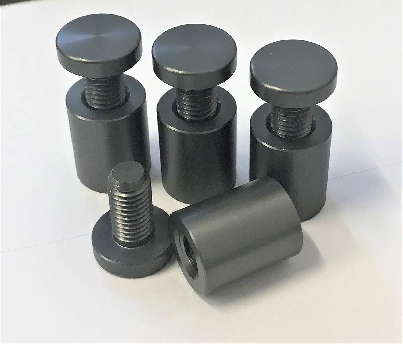 Precisiongeek alluminio color grigio canna di fucile distanziatori per vetro Pubblicit/à Vite di vetro Bulloni Supporto Vite Segno Chiodi Hardware Supporti Viti Frameless Clamp Per Vetro 20 x 25mm 4pz
