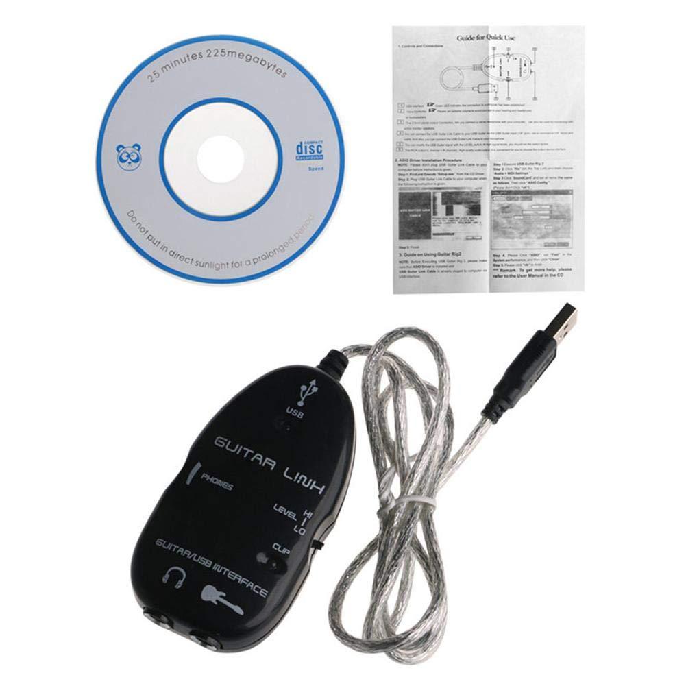 WXGY Guitarra el/éctrica a Interfaz USB Cable Adaptador Adaptador Mac//PC Grabaci/ón de Mac