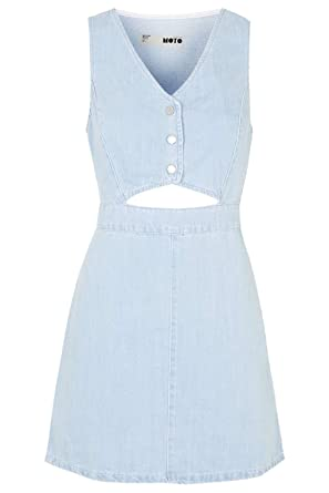 Topshop MOTO Cut-Out Denim Dress Blue UK 10