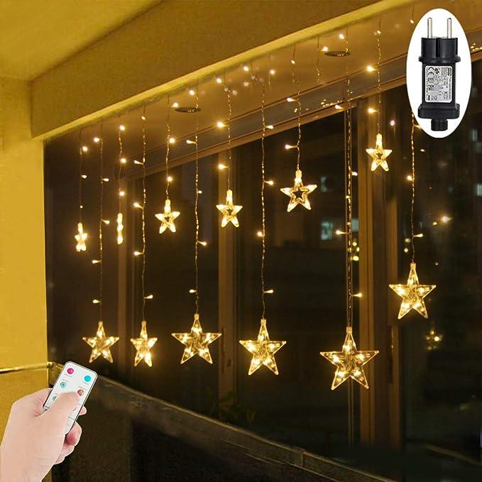 LED Lichtervorhang Sterne Warmweiß Weihnachtsbeleuchtung Fenster für Innen Außen Weihnachten Party IP44 31V Niederspannung 8