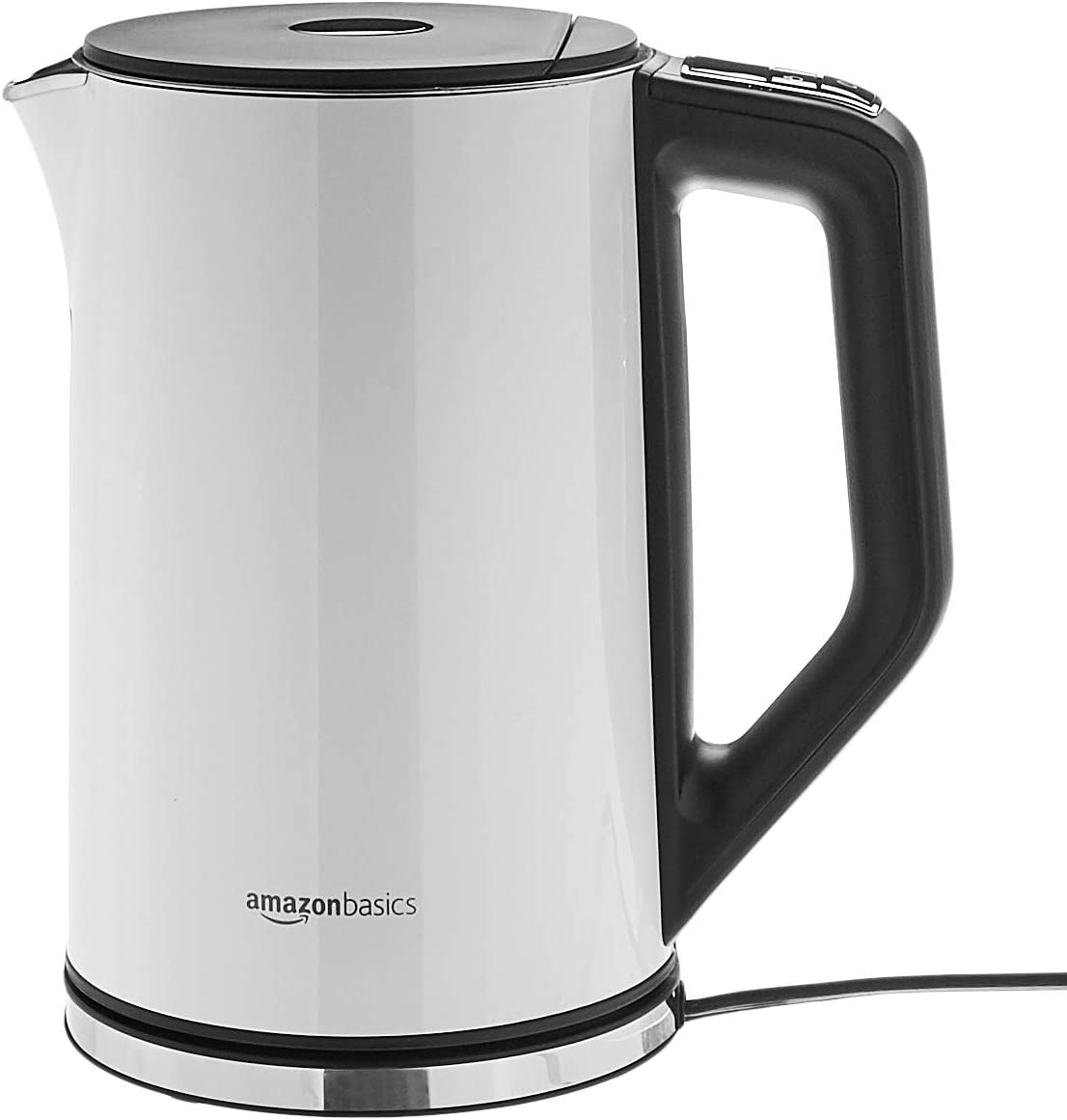 AmazonBasics Cool-Touch Stainless Steel Kettle with Temperature Control, 1.5L, White