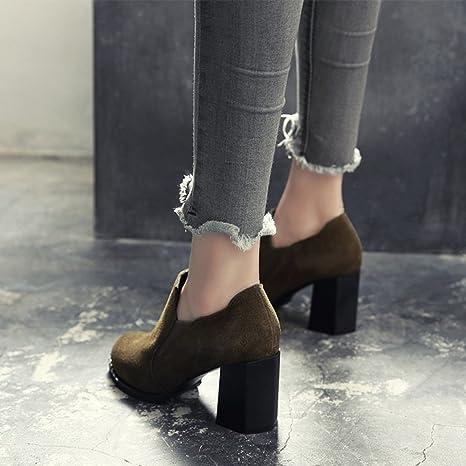 BOTAS HAIZHEN Ladies Girls Botines Zapatos de mujer Frosted Otoño Invierno Confort Talones Tacón Chunky Toe