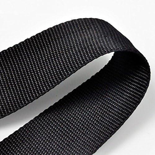 Black+Two White Lines 50m 25mm POLYPROPYLENE STRAP WEBBING