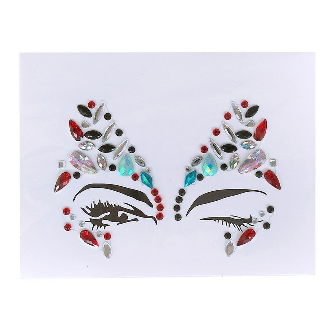 Hunputa Face Gems Adhesive Glitter Jewel Tattoo Wedding Festival Rave Party Body Make Up (G)