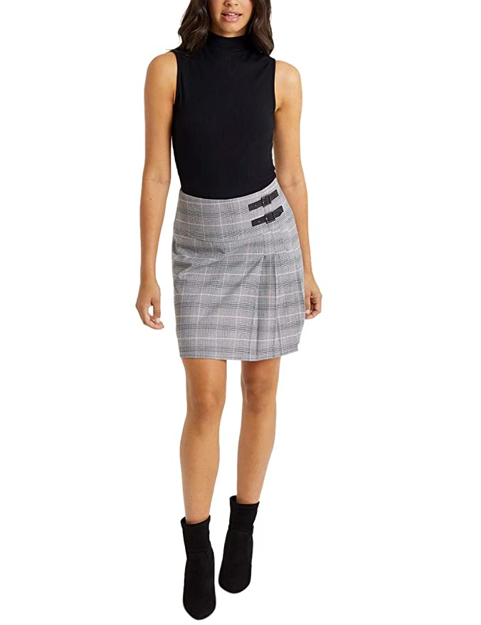 Lipsy Mujer Minifalda Escocesa De Cuadros Gris EU 46 (UK 18 ...