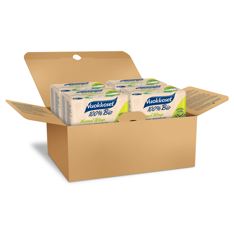 Organic Sanitary Pads with Biodegradable Materials /& Organic Cotton Size Regular with Wings 4x12 pcs Multipack Vuokkoset 100/% Bio