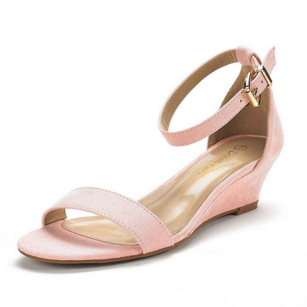 5b5aae42c12 Galleon - DREAM PAIRS Women's Ingrid Pink Suede Ankle Strap Low Wedge  Sandals Size 5 M US
