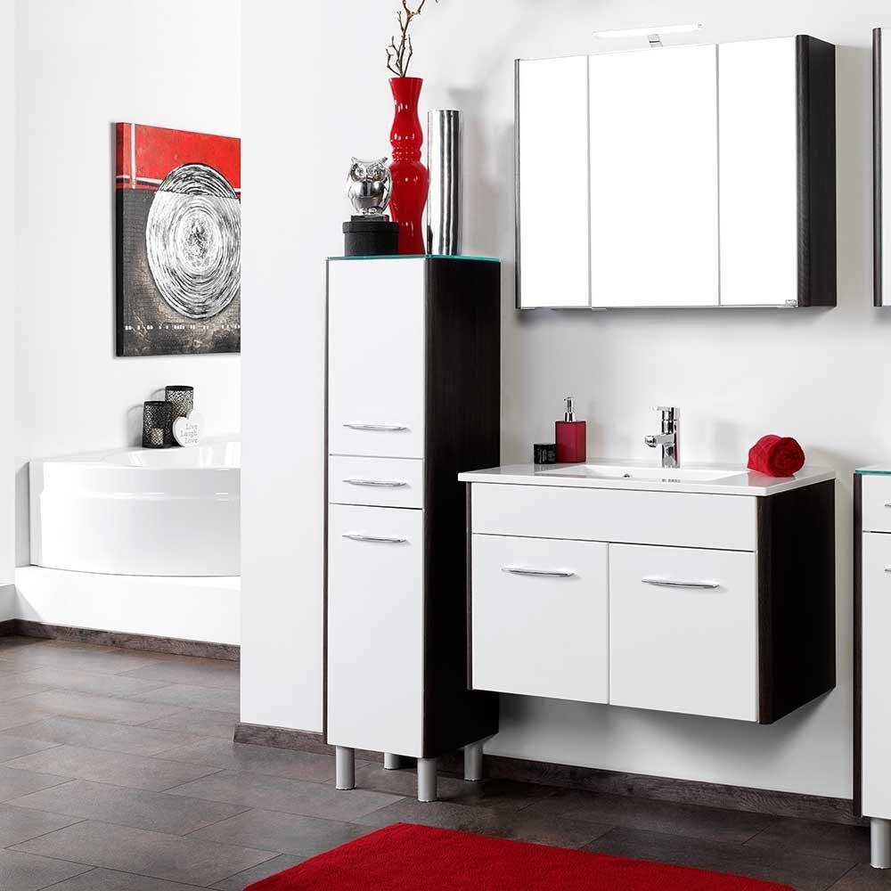 Badezimmermöbel in Weiß Hochglanz Braun Schwarz mit Spiegelschrank (3-teilig) Füße werden mitgeliefert Ohne Pharao24