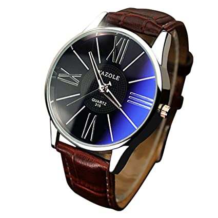 Quaanti Luxury Mens Watch Elegant Fashion Leather Band Analog Mens Glass Quartz Analog Wristwatch Watches Relogio