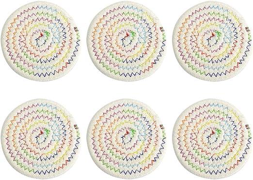 Compra VOSAREA 6pcs diámetro Redondo 11cm algodón tapete Tejido ...