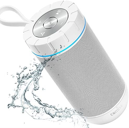 COMISO Waterproof Bluetooth Speakers Outdoor Wireless Portable Speaker with 20 Hours Playtime Superior Sound for Camping, Beach, Sports, Pool Party, Shower White