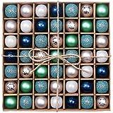 Valery Madelyn クリスマス オーナメント ボール 49個入り コールドカラー エレガントおしゃれ シルバー ブルー シック クリスマス 飾り デコレーション 装飾 サイズ 3cm