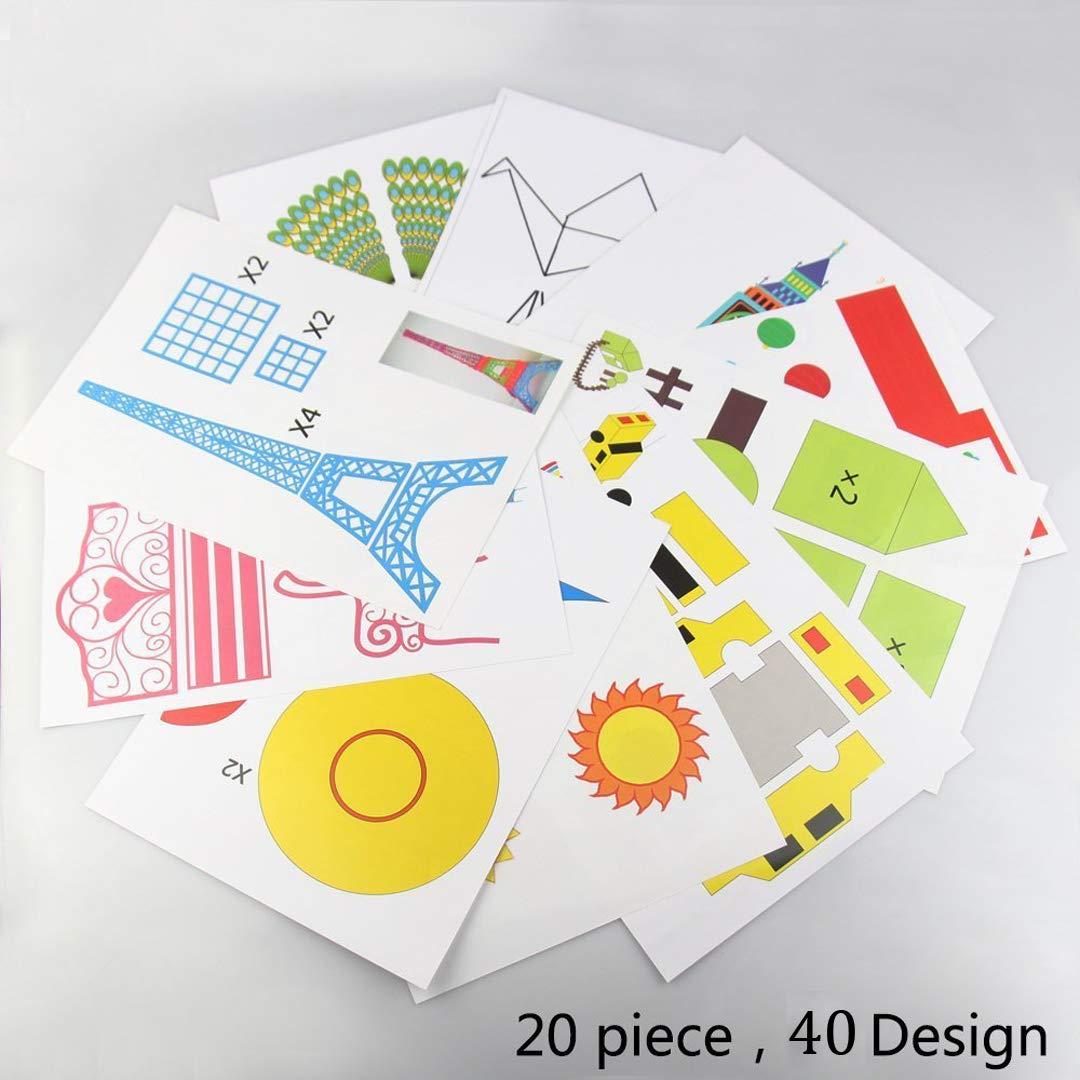 3D Pen Schablonen, 3D Pen Stencils 3D Drucker Stift Papier Stencils/ 20 Seiten Verschiedene Papier Patterns/ 3D-Modellbau Arts & Crafts Zeichnung/Bunte 3D Druckmuster. DOLYUU