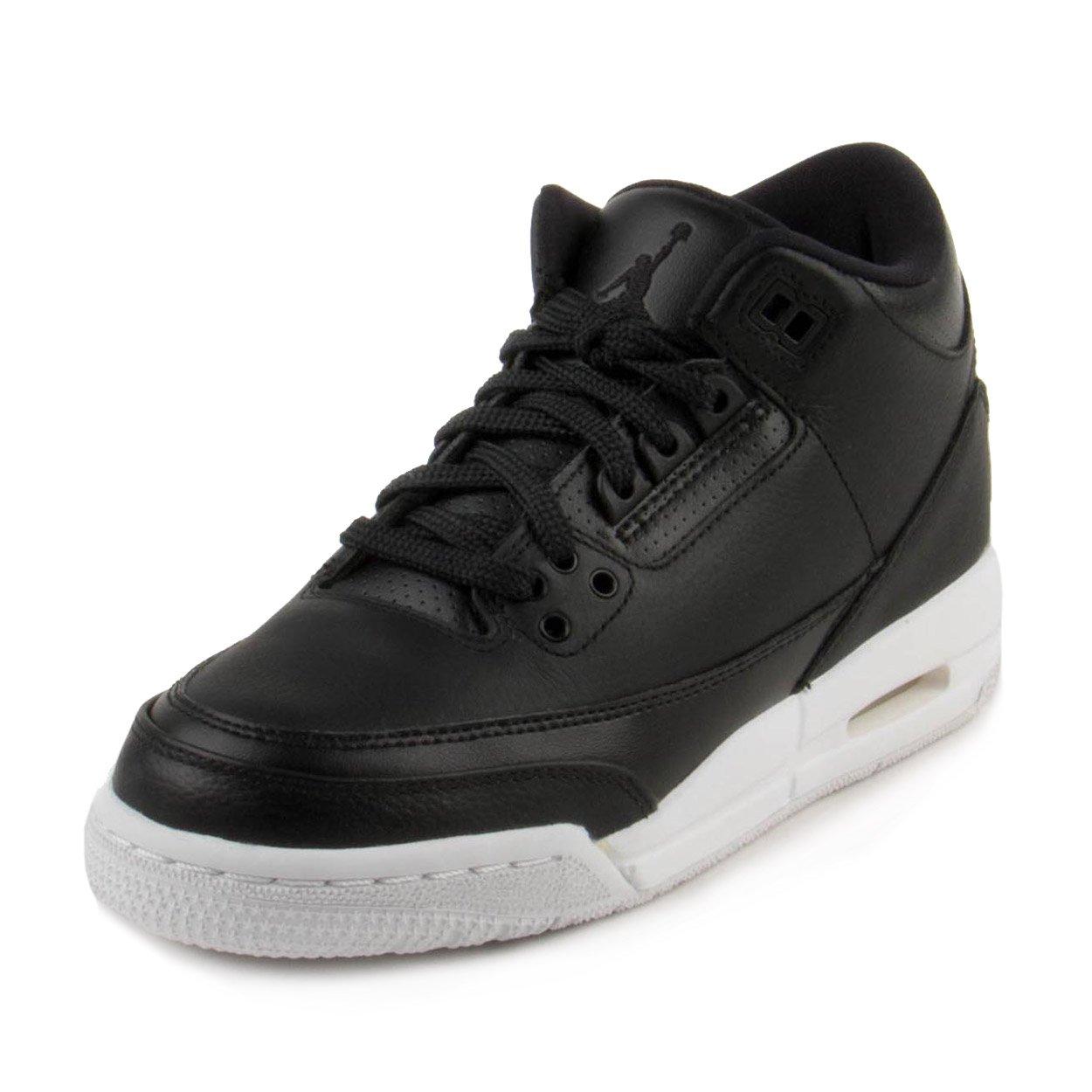 NIKE Air Jordan 3 Retro Bg Boys Basketball Shoes (7Y, Black/Black/White)