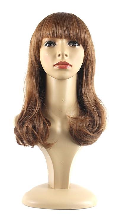 Xiaoyu plana bangs longitud media rizado moda chica pelucas naturales - rubia