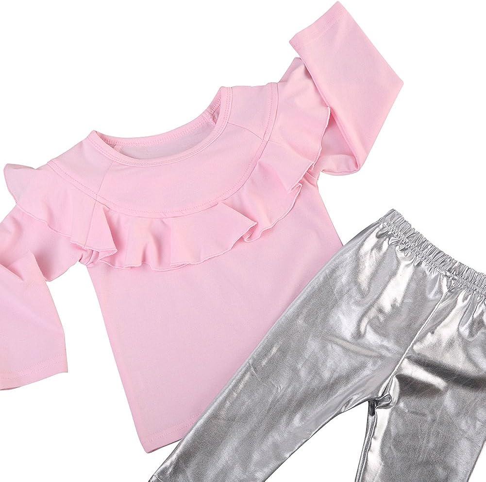 Schleife Hut Silber PU Leder Hosen SCFEL Kleinkind 3 St/ück Kleidung Set Baby M/ädchen R/üschen Rosa T-Shirt Tops