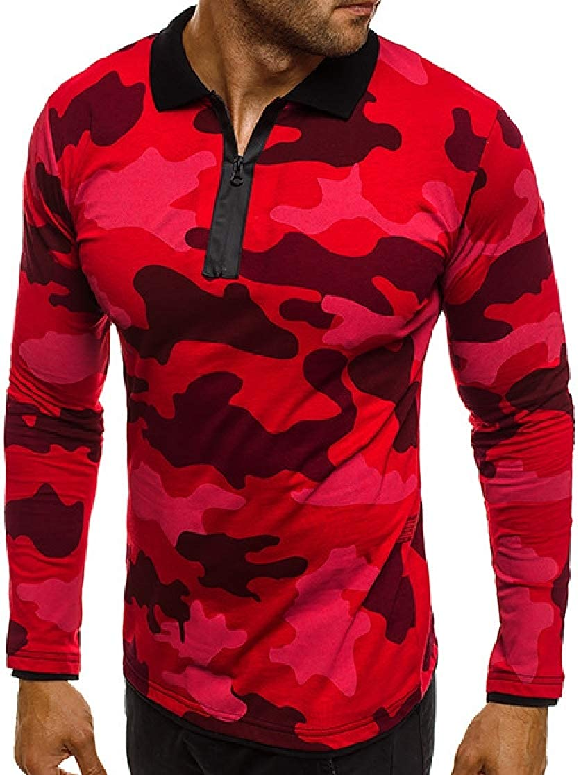 YUNY Men Fitness Turn Down Collar Printed Long-Sleeve Camo Polo Shirt Red M