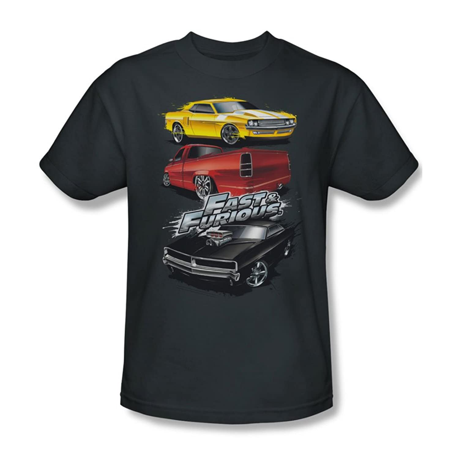 Fast And The Furious - Mens Muscle Car Splatter T-Shirt In Charcoal
