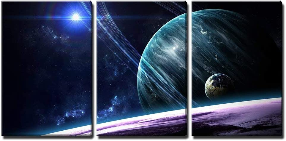 Planets Stars Galaxies in Outer Space - Canvas Art Wall Decor-24 x36 x3