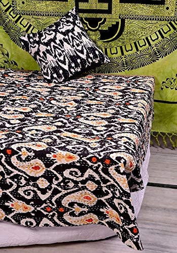 Indian Bedding Bedspread Blanket Hand Quilted Large Cotton Kantha Hand Stitched Quilts Hippie Ikat Print Kantha Bedspread Throw Quilts