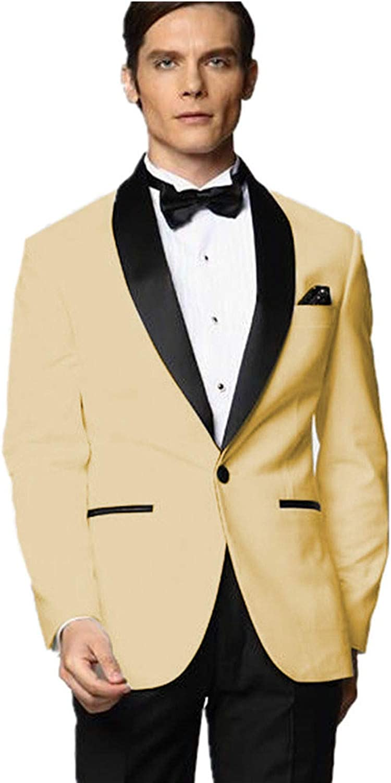 MYS Hombre Justo lo trauzeuge Smoking Amarillo traje Negro ...