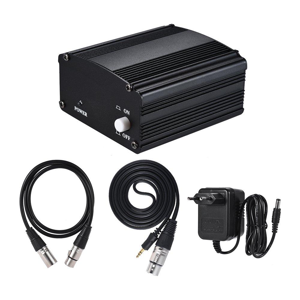 ammoon 1- Canal 48V Alimentation Fantôme Noir avec Adaptateur et Un XLR Câble Audio