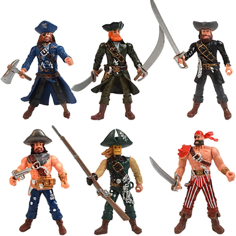 DOYIFun 6 Pcs Pirate Action Figures Toy Playset with Weapons, Sea Rover Pirate Men Toy Carnival Fun Pirate Party Favor or Prize Gift