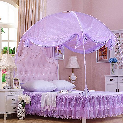 CdyBox Princess Mosquito Net Bed Tent Canopy Curtains Netting with Stand Fits Twin Full Queen (Purple, Full/Queen)