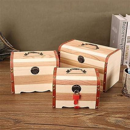 Cajas de dinero de madera, Caja de almacenamiento de dinero retro de madera sólida Hucha de madera con cerradura Banco de dinero de madera ?3PCS?: Amazon.es: Oficina y papelería