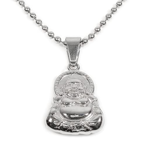 Stainless steel big belly laughing buddha pendant necklace amazon stainless steel big belly laughing buddha pendant necklace aloadofball Image collections