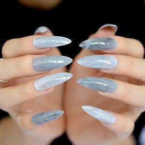 EchiQ - Puntas de uñas postizas de mármol gris extra largas, punta ovalada afilada,