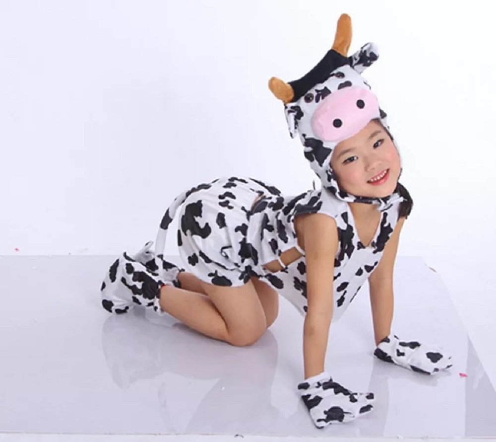 Kids Sleeveless Animal Costumes Children's Summer Fancy Dress Pajama Party Cosplay (Cow, L (for Kids 105-120 cm Tall))