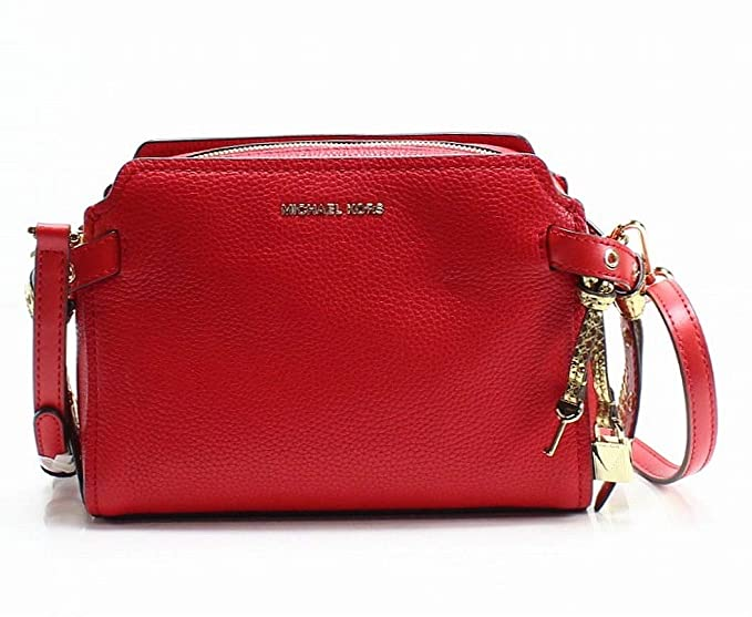 Image Unavailable. MICHAEL Michael Kors Womens Bristol Leather Messenger  Handbag Red Medium ad93b0815608a