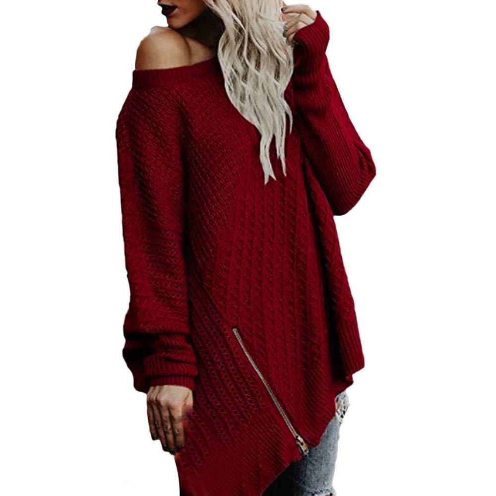 Franterd Sweater Asymmetrical Pullover Women Solid Knitted Jumper Split Zipper Irregular Loose Sweatshirt Multifunction Fashion Wearing