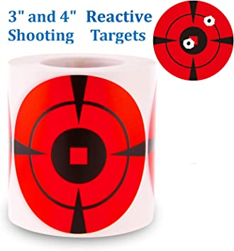 """GearOZ Splatter Target Stickers for Shooting-3/"""" Bulleye,High Visibility Reactive"""