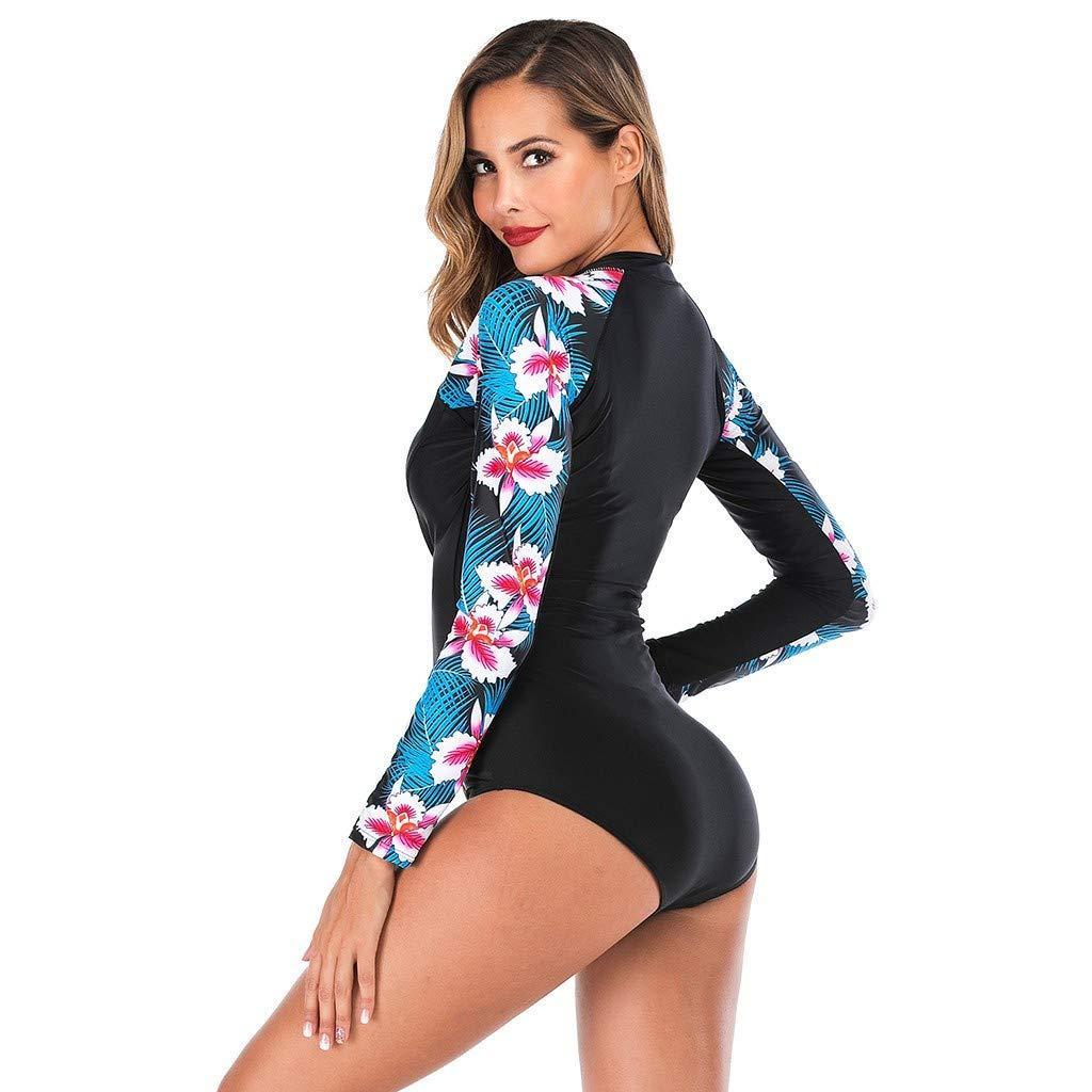 Cebbay Traje de Surf de Buceo para Mujer Lycra ProteccióN UV Frente Cremallera Monokinis A Prueba de Sol Manga Larga Rashguard Traje de BañO de ...