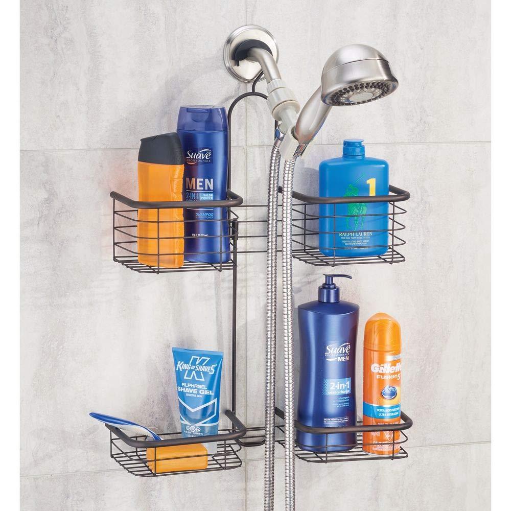 gel y otros accesorios Organizador de ducha con 4 cestas para guardar champ/ú Cesta de ducha sin taladro de metal inoxidable acondicionador mDesign Estante para ducha colgante blanco