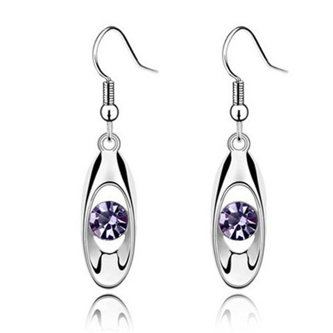 UNKE Fashion Long Drop Dangle Hook Earrings with Sparkling Crystal Valentine's Day Gift Jewelry for Women,Purple