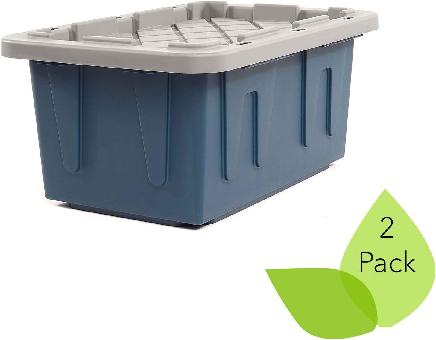 ECOstorage Box Tough Recycled Plastic Storage Container, 15 Gallon, Blue, 2 Pack