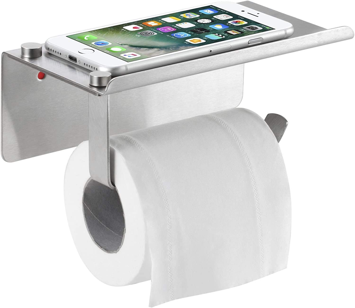 Bosszi Toilet Paper Holder With Phone Shelf Wall Mounted Sus304 Stainless Steel Bathroom Accessories Tissues Roll Dispenser Storage Rack Brushed Amazon Com