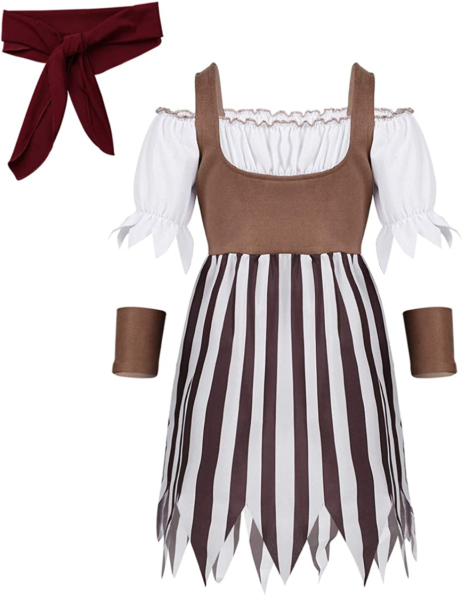 moily Girls Pirate Princess Costume Vintage Dress with Head Scarf Wristband Fancy Cosplay Halloween Outfit