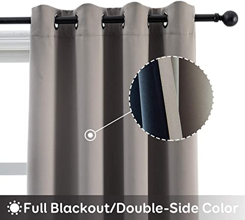 Anjee 95 Inches Long Blackout Curtains for Bedroom Grey 100 Room Darkening Window Drapes Thermal Insulated Grommet Drapery 2 Panels, Gray 52×95 Inches