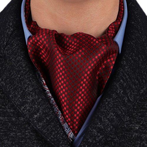 (Epoint ERA7D01A Dark Red Polka Dots Mens Ascot For Business Working Woven Silk Ascot)
