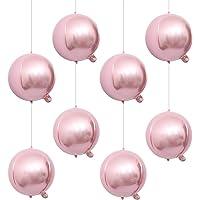 "Eanjia 7"" Pink Foil Balloons Hangable 8Count Mini Round Sphere Aluminum Mylar Balloon Mirror Metallic Silver Balloon…"